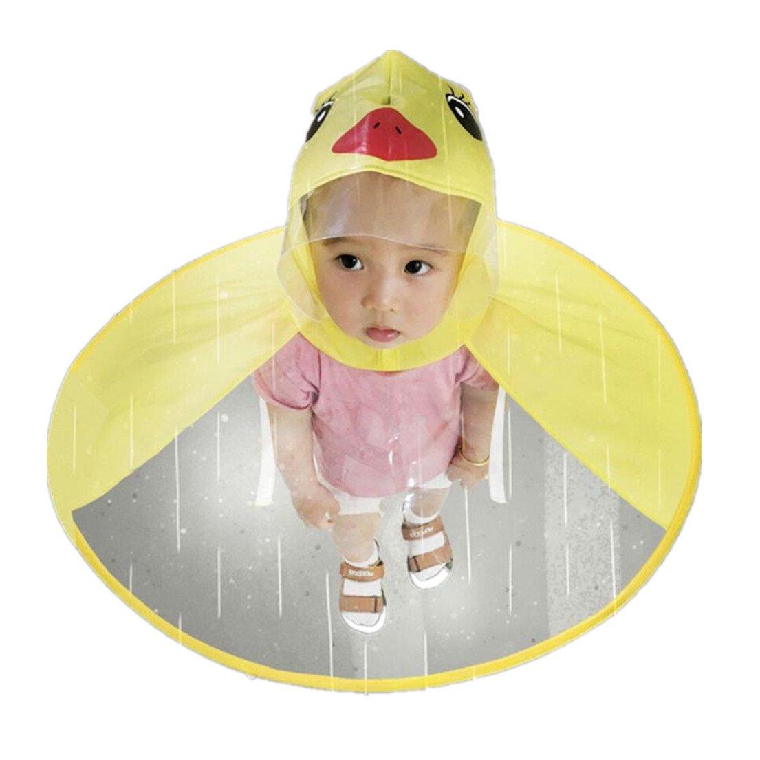 Alonea Kids Hands Free Raincoat, Kids Umbrella Hat for Boys Girls Cute Rain Coat UFO Umbrella Hat Cap Raincoat (Yellow M❤️)