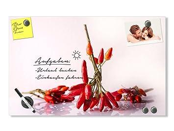 GRAZDesign Magnettafel Glas für Notizen - Magnettafel Küche Chili -  Planungstafel für Küche Chilibund - Küchen Magnettafel Querformat /  100x60cm / ...