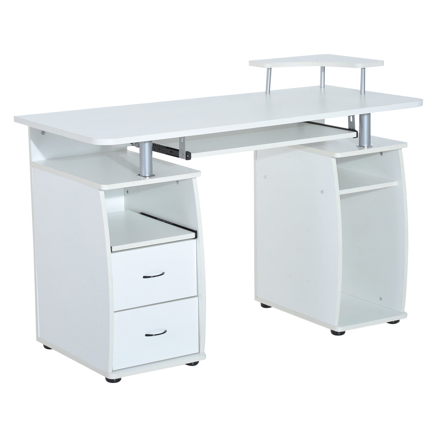 HOMCOM Computer Table Desk PC Desktop Drawer Home Office Furniture White Aosom Canada CA920-011WT0231