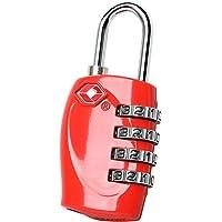 TRIXES 4-stelliges TSA-Vorhängeschloss Zahlenschloss für Gepäck, Koffer, Tasche - rot