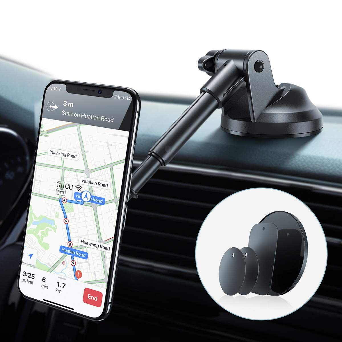 AINOPE Magnetic Phone Car Mount, 6 Strong Magnets Phone Holder for Car Dashboard and Windshield, 360° Rotation & Metal Telescopic Arm, Hands-Free Car Phone Holder for with 3''-7'' Phone by AINOPE