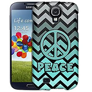 Samsung Galaxy S4 Case, Slim Fit Snap On Cover by Trek Peace on Chevron Grey Green Turquoise Black Case