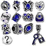 European Charm Bracelet Charms and Beads For Women and Girls Jewelry, Birthstone Blue September Sapphire