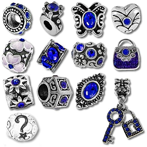 European Charm Bracelet Charms and Beads For Women and Girls Jewelry, Birthstone Blue September Sapphire - Crystal Flower Slide Charm