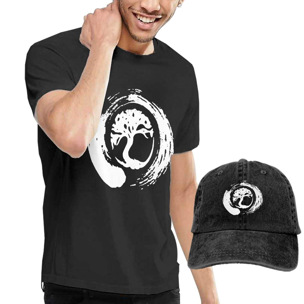 WWTBBJ-B Buddhist Symbol Zen Tree Adult Mens Summertime T-Shirts and Outdoor Jean Hat