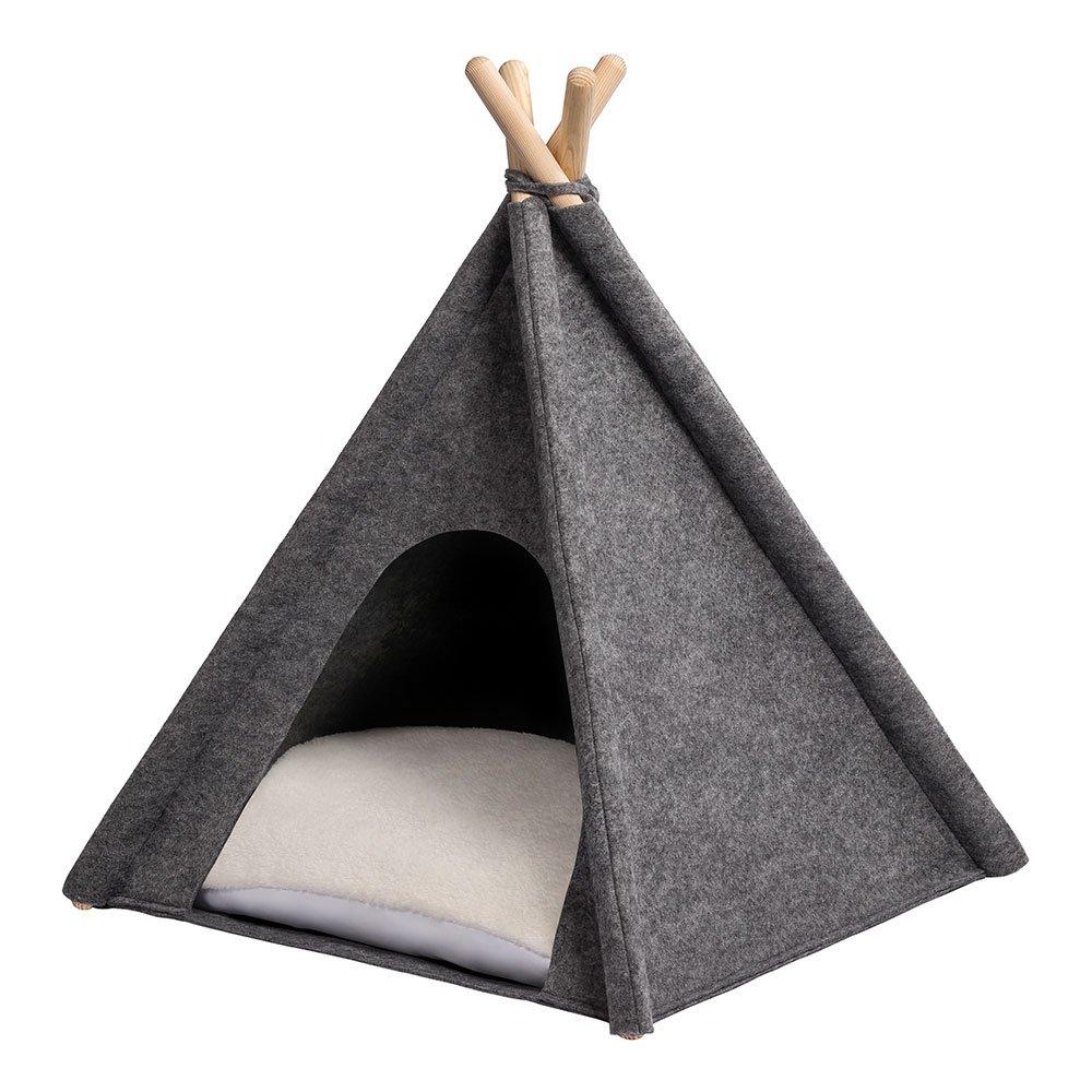ANIMALY TIPI Tenda per animali domestici, tenda per cani, tenda per gatti, cuccia per animali, rifugio per cani e gatti con cuscino reversibile, design moderno, costruzione rapida, struttura in pino, tessuto in feltro, realizzato nell'UE realizzato nell&#3