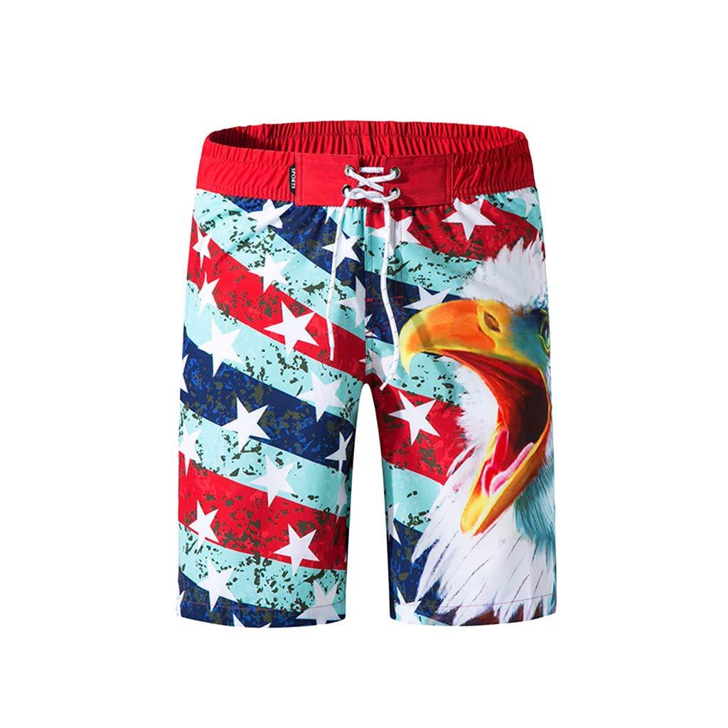 ZhixiaYS Men American Flag Colorful Printed Beach Quick Dry Shorts Swimwear Sports Shorts