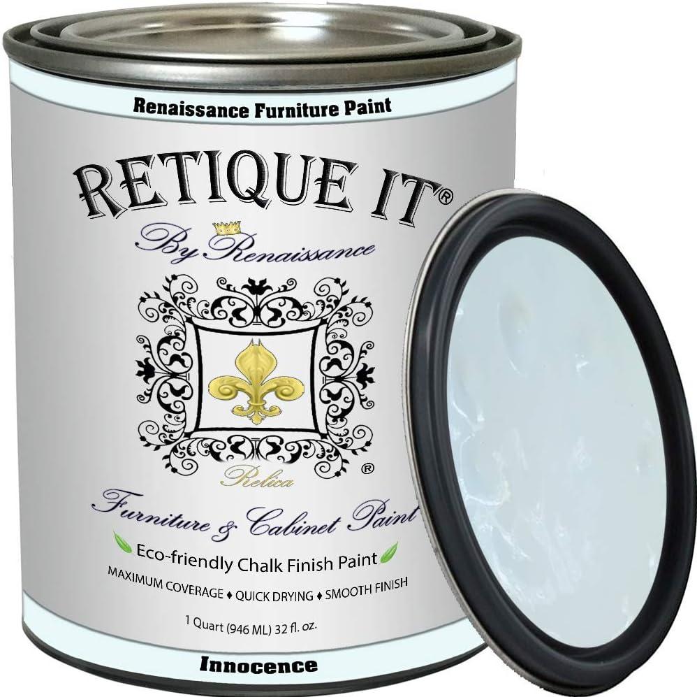 Retique It Chalk Finish Renaissance Furniture Paint, 32 oz (Quart), Innocence, 32 Ounces