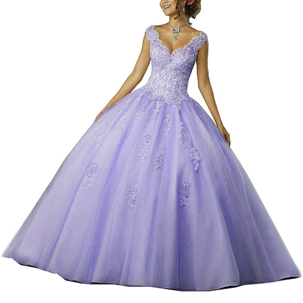 Lavender Vantexi Women's VNeckline Lace Applique Beaded Sweet 16 Ball Gown Quinceanera Dress