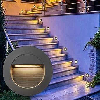 Lámpara de pared LED de 2 W, empotrable, luz blanca cálida, 230 V, para interior y exterior, luz para escaleras, IP65, gris: Amazon.es: Iluminación