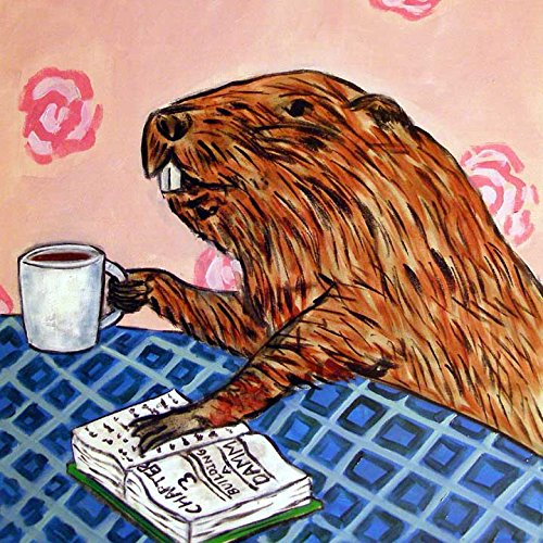 - Beaver at the Cafe Coffee Shop decor art tile coaster gift