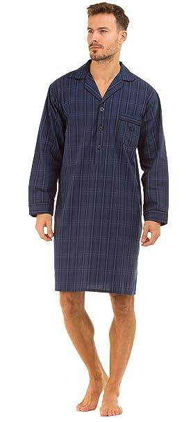 Haigman Poplin 100% Cotton Nightshirt 7391 Dark Navy Check Medium