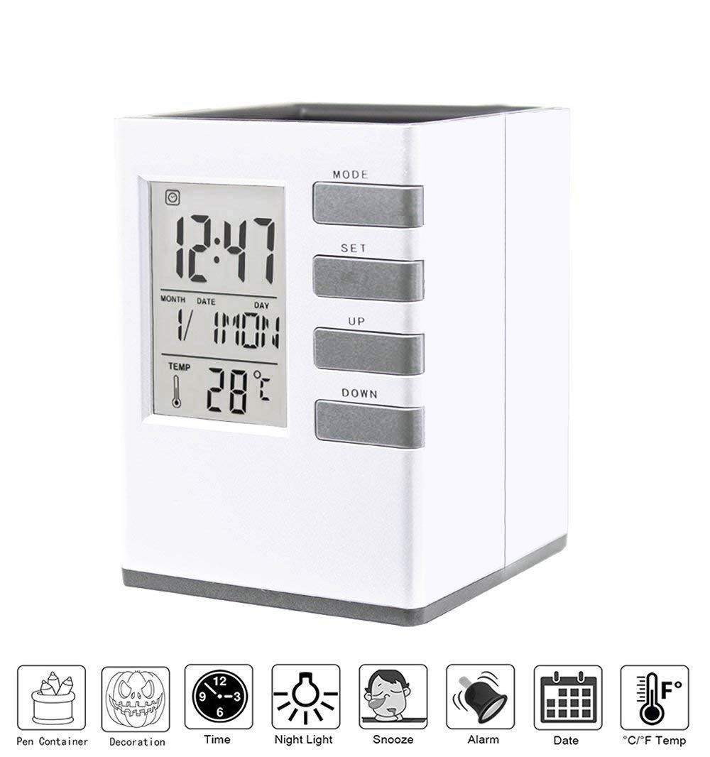 Office Desk Clock,Digital Alarm Clock with Voice Control Night Light Pen Pencil Holder Time Temperature Calender Week Alarm Snooze Function (Silver, Sound Control)