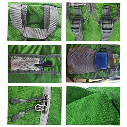 Loowoko 40L Mochila Ultra-ligero Plegable Impermeable Mochila para Senderismo Excursión Viaje Ciclismo Camping para Hombres y Mujeres (Bzul) Verde