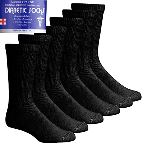 Size 10-13 3 Pair Pack Men/'s Diabetic Crew Socks