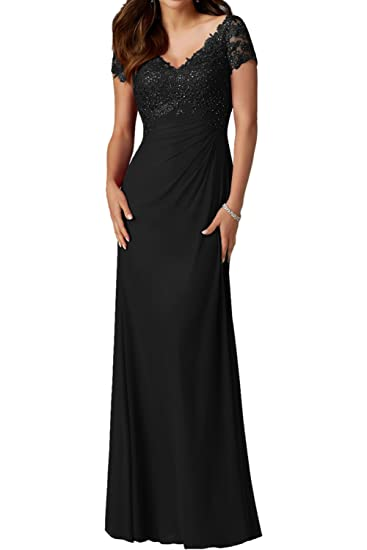 DressyMe Womens Prom Dresses with Sleeves Long V-Neck Pleated-6-Black