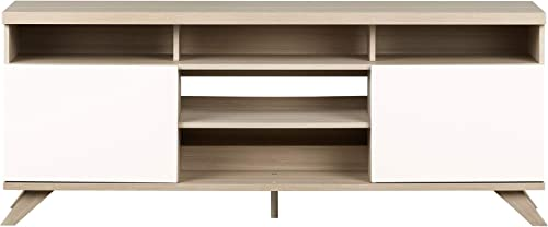 South Shore Cinati TV Stand with Doors, Soft Elm and Pure White