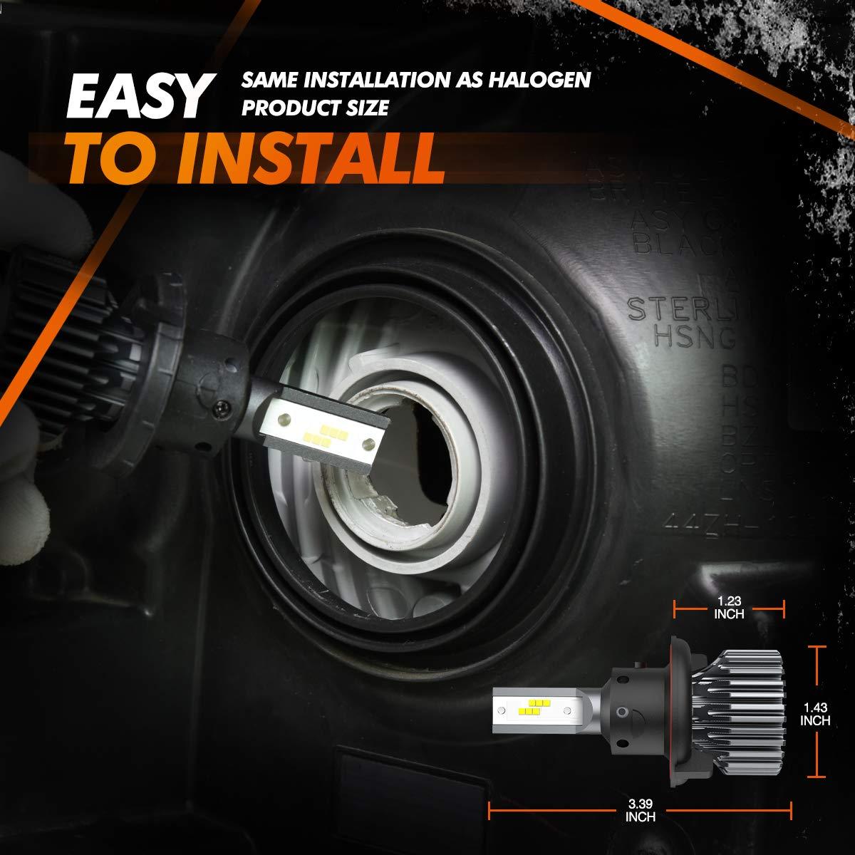 SEALIGHT H4 9003 HB2 LED Headlight Bulbs Fanless 6000K White High Low Beam CSP Chips Halogen Headlight Replacement 30W 5000Lumens