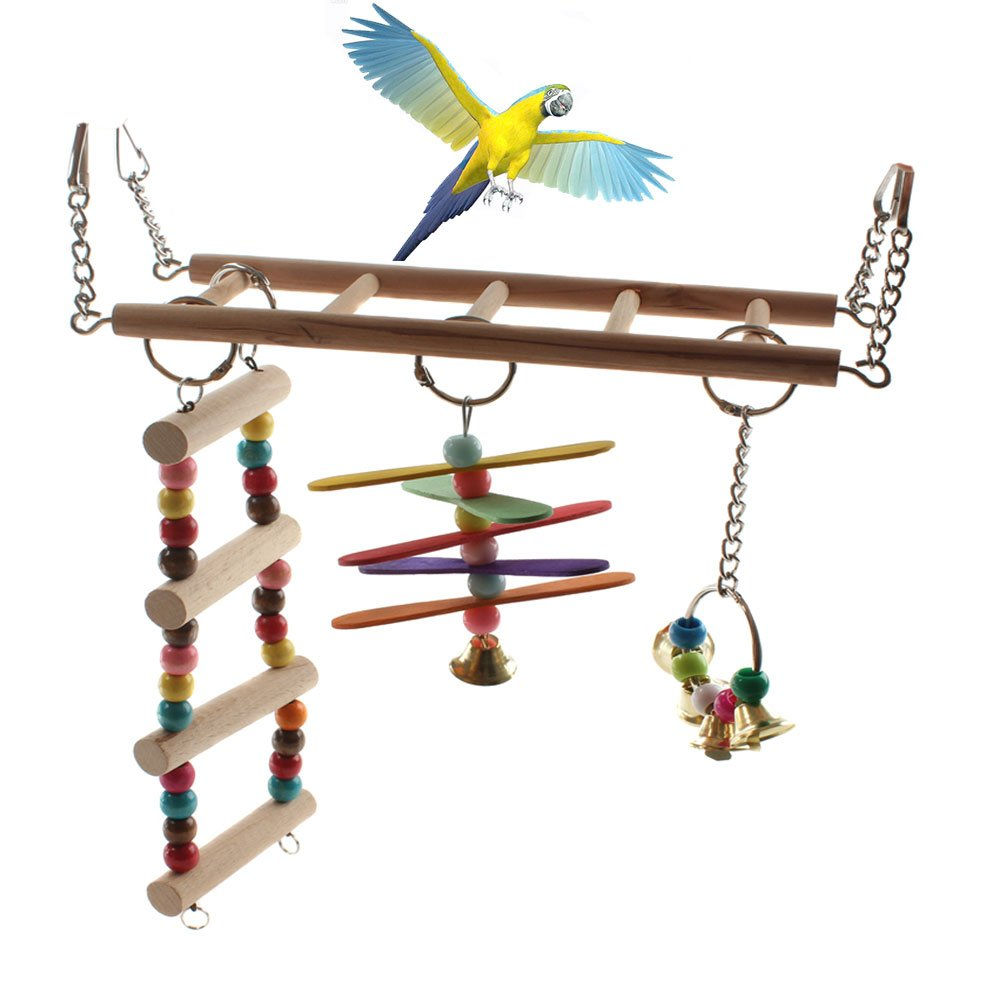 Emours Natural Wood Bird Ladder Small Animal Swing Cage Activity Toys with Hanging Bell