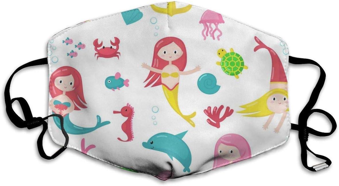 Conjunto de Iconos de Sirena Linda Personalizada Imagen de Vector Aislado Máscara cómoda y Transpirable, Máscara Universal para Hombres y Mujeres para Proteger la Cara