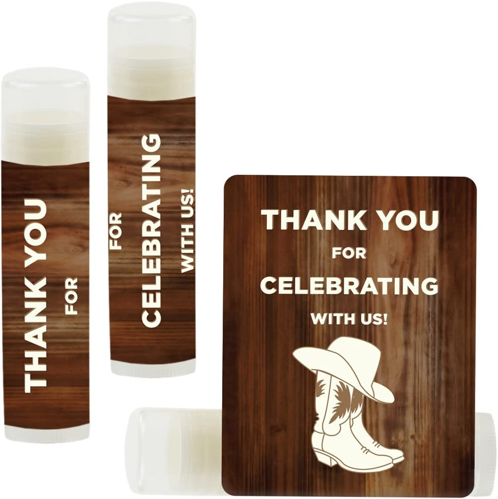 Andaz Press Lip Balm Birthday Party Favors, Thank You for Celebrating with Us, Cowboy Boots, 12-Pack, Cowboy Boots Themed Party Decor Gifts for Guests