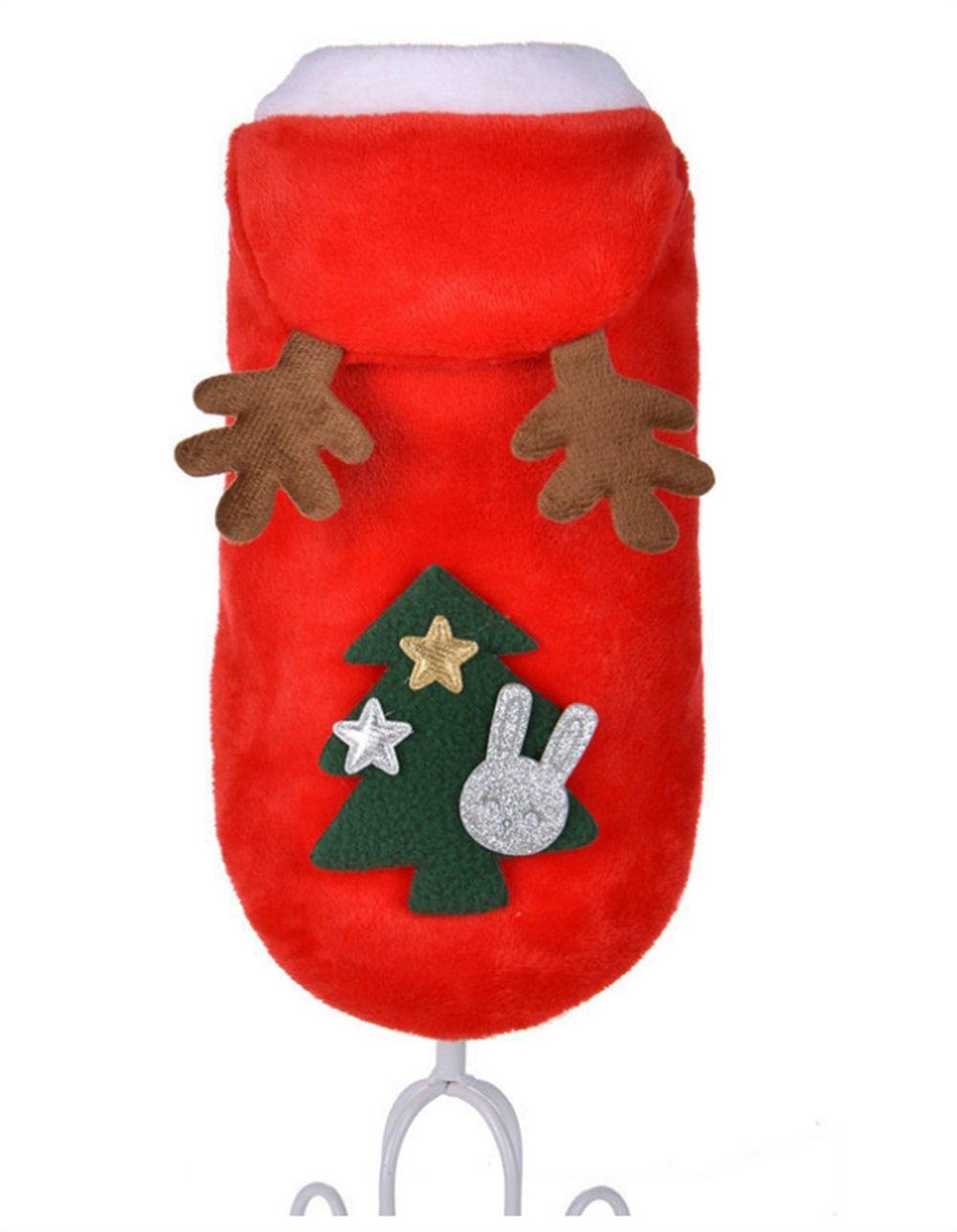 ShireyStore Prodotti per Animali Vestiti per Gatti Abbigliamento invernale per animali Elk Natale Capodanno Pack per gatti e cani Red Size 12