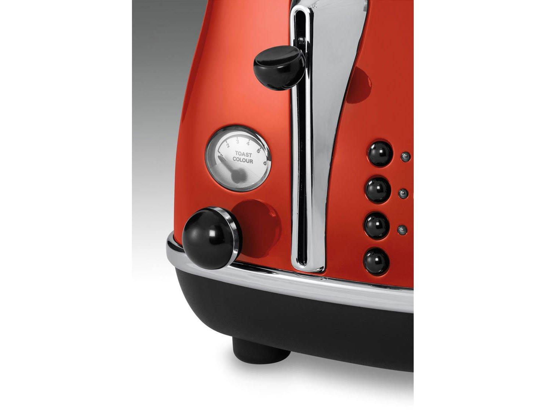 Delonghi CTO2003.R Tostadora Icona Vintage 900 W, 2 rebanadas ...
