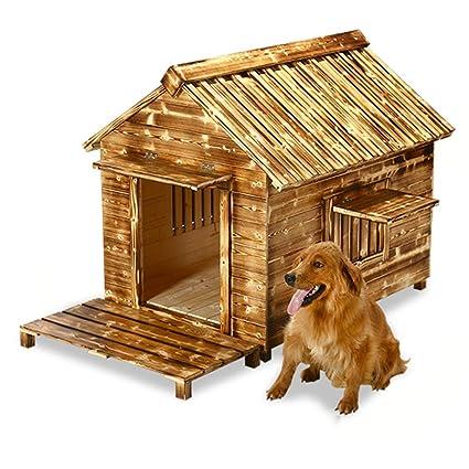 Perrera Caseta para Perros Impermeable Al Aire Libre para Perros Casa De Madera Maciza Nido para