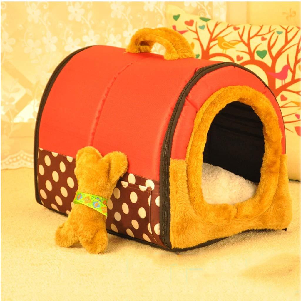 Nido de mascotas Tipo de casa de Punto Rojo Cuatro Estaciones Universal extraíble y Lavable Resiliencia de Mediano tamaño Pequeño Perro de Arena de Gato ...