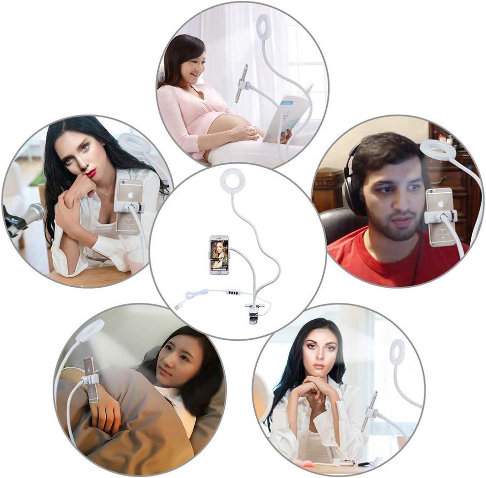 Desktop Makeup YouTube Bedroom Zhengpin Selfie Ring Light Dimmable 3-Light Mode10-Level Brightness with Lazy Bracket for Live Stream