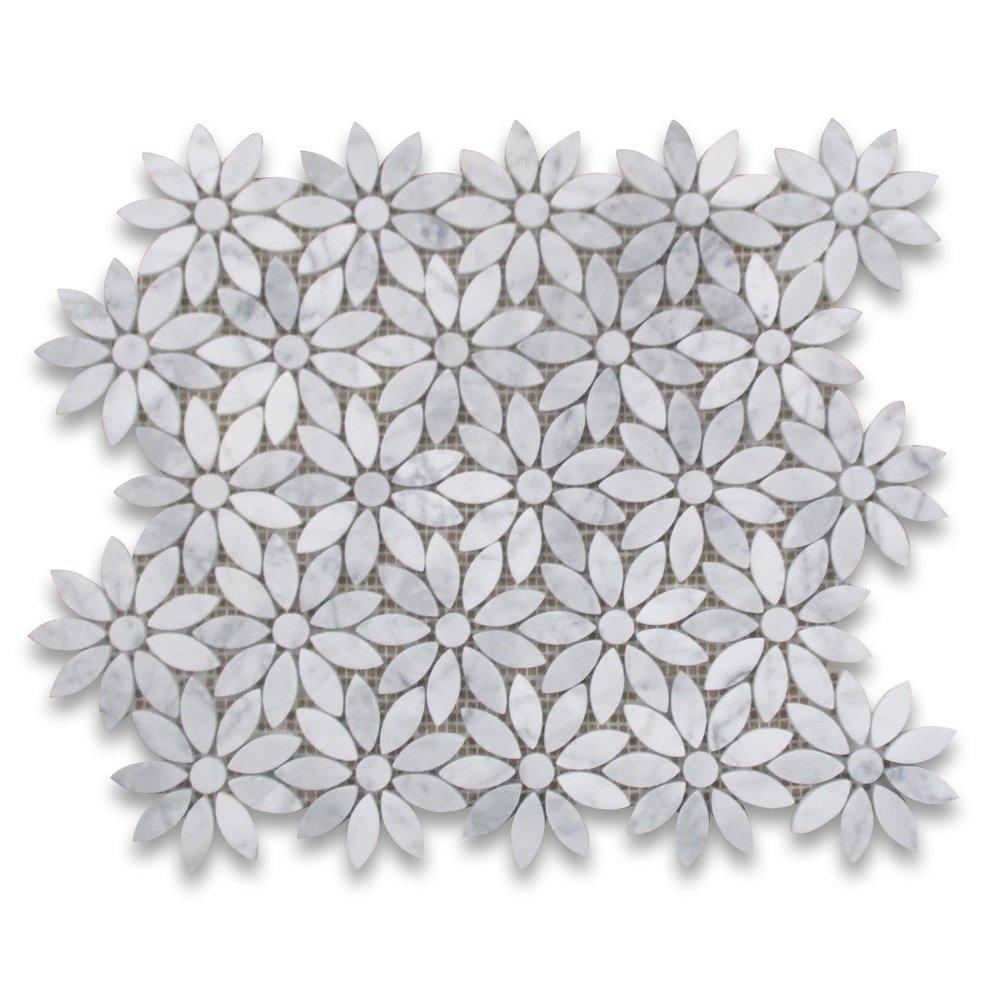 Carrara White Italian Carrera Marble Daisy Flower Pattern Mosaic Tile Honed by Stone Center Online