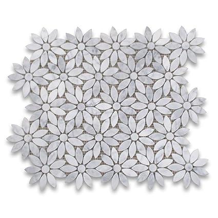 e285d67da8f25 Carrara White Italian Carrera Marble Daisy Flower Pattern Mosaic Tile Honed  - - Amazon.com