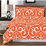 Tangerine and White Victoria 3-piece Full / Queen Duvet-Cover-Set, 100 % Egyptian Cotton 300 TC