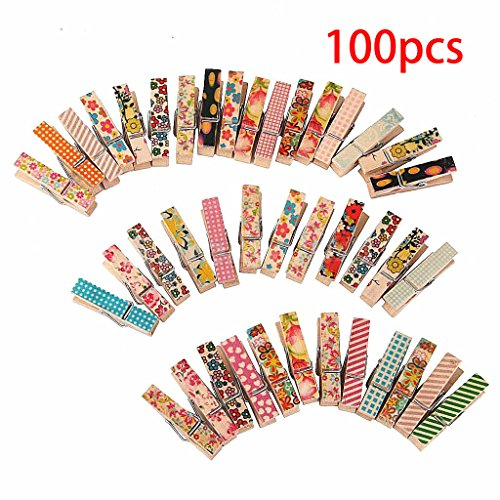 Corasays 100pcs/pack Cute Painted Wood Clip - Mini Colorful Natural Wooden Photo Paper Peg Pin Clothespin Craft (Cute Mothers Day Crafts)
