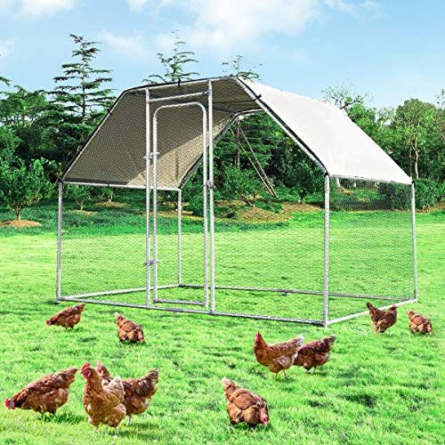 Giantex Large Metal Chicken Coop Walk-in Chicken Coops Hen Run House Shade Cage with Waterproof and Anti-Ultraviolet Cover for Outdoor Backyard Farm Use Poultry Cage (9.5' Lx 6.5' Wx 6 H')