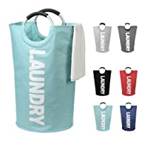 DOKEHOM DKA0001LB2 Large Laundry Basket, Collapsible Fabric Laundry Hamper, Foldable Clothes Bag, Folding Washing Bin, Available in 6 Colors (Light Blue, L)
