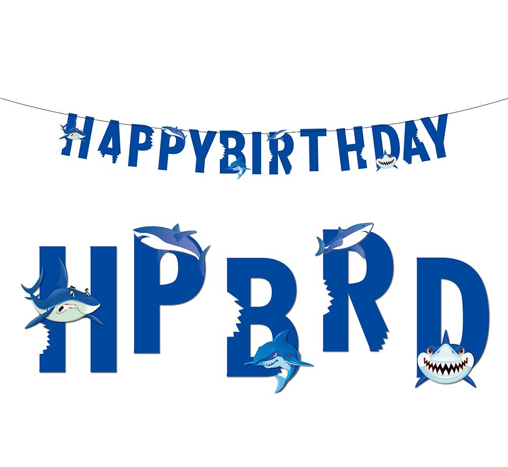 Shark Banner Under The Sea Happy Birthday Baby Girl Boy Snap Circuits Pro Sc500 Party Decoration Free