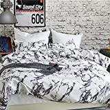 TRUEDAYS Duvet Cover Set Queen King Marble Pattern Printed White Soft Microfiber Bedding with Zipper Closure,Queen 3 PCS
