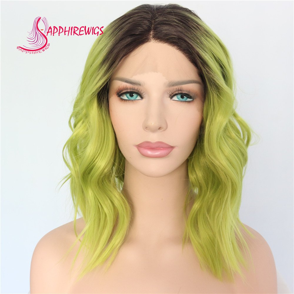 Short Black Ombre Green Color Water Wave Daily Makeup Synthetic Lace Front Wedding Party Wig