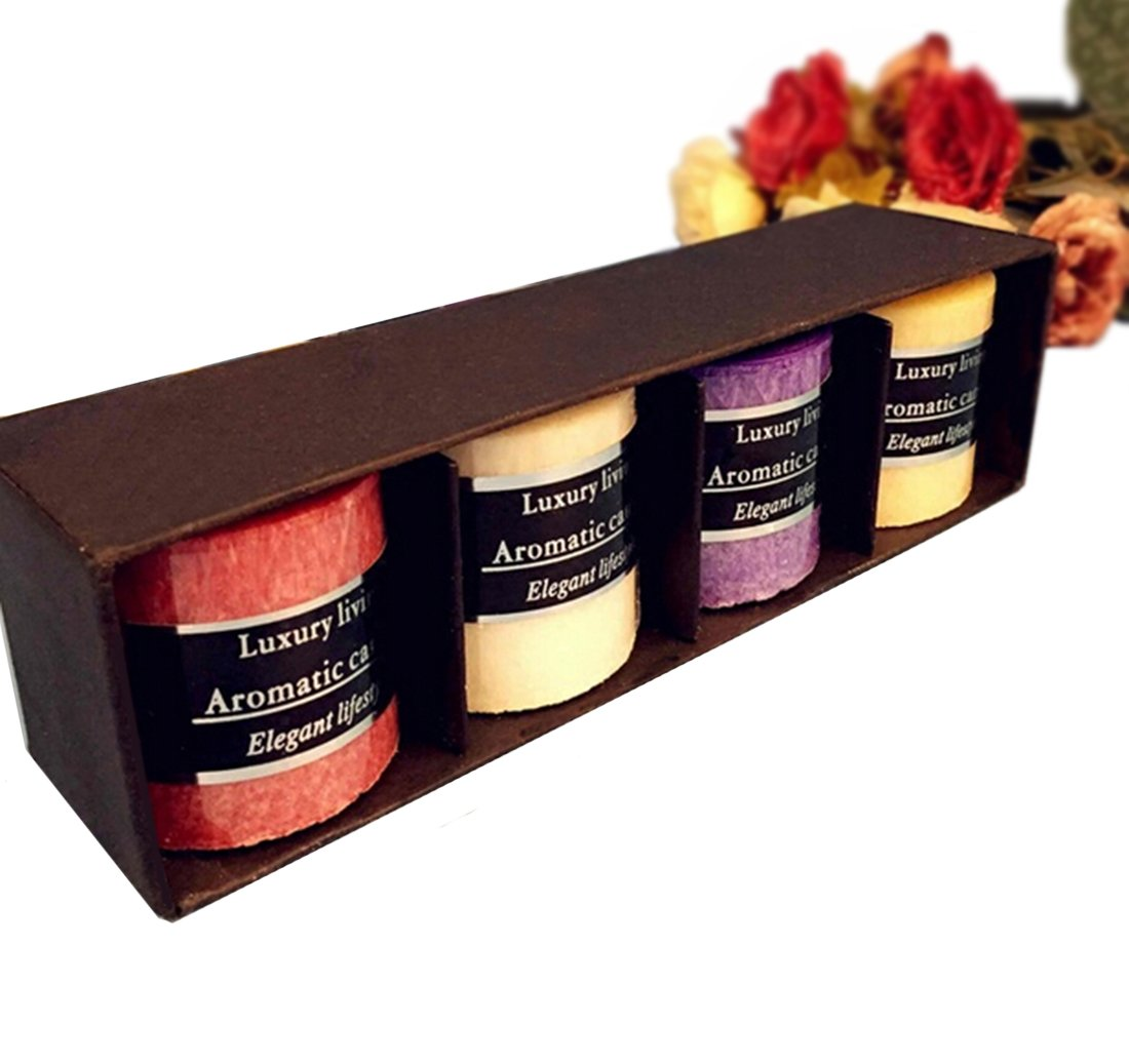 WER 4-Pack Odor Candle Aromatic Candle Luxury Elegant Candle Eliminates Smoke Odors, Pet Odors, Food & Kitchen Odors,Perfect for Proposal,Birthday,SPA