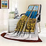 YOYI-HOME Luxury Double-Sides Reversible Fleece Duplex Printed Blanket House Tropical Scenery from Hotel Room Vacation Journey Relax and Go Cream Blue White Travelling and Camping Blanket /W59 x H79
