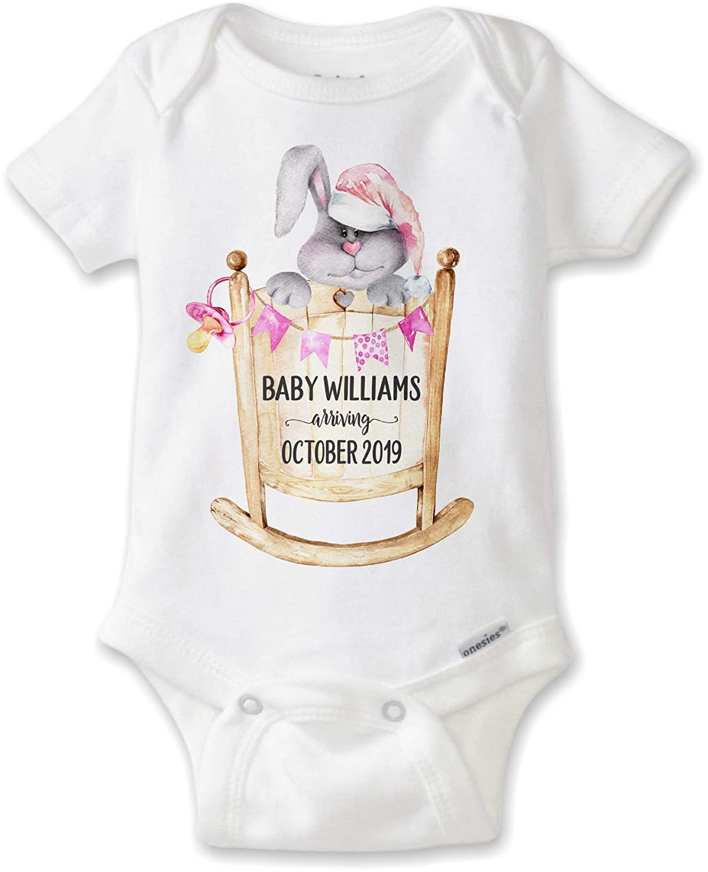 5e7abdf91 Amazon.com: Personalized Pregnancy Announcement Onesie® Bodysuit | Pregnancy  Reveal to Husband, Grandparents | Newborn Baby Boy or Girl Easter Pregnancy:  ...