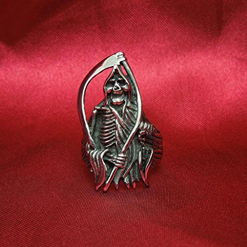 Mens Stainless Steel Finger Rings Retro Sons of Anarchy Black Size 9 - Adisaer Jewelry