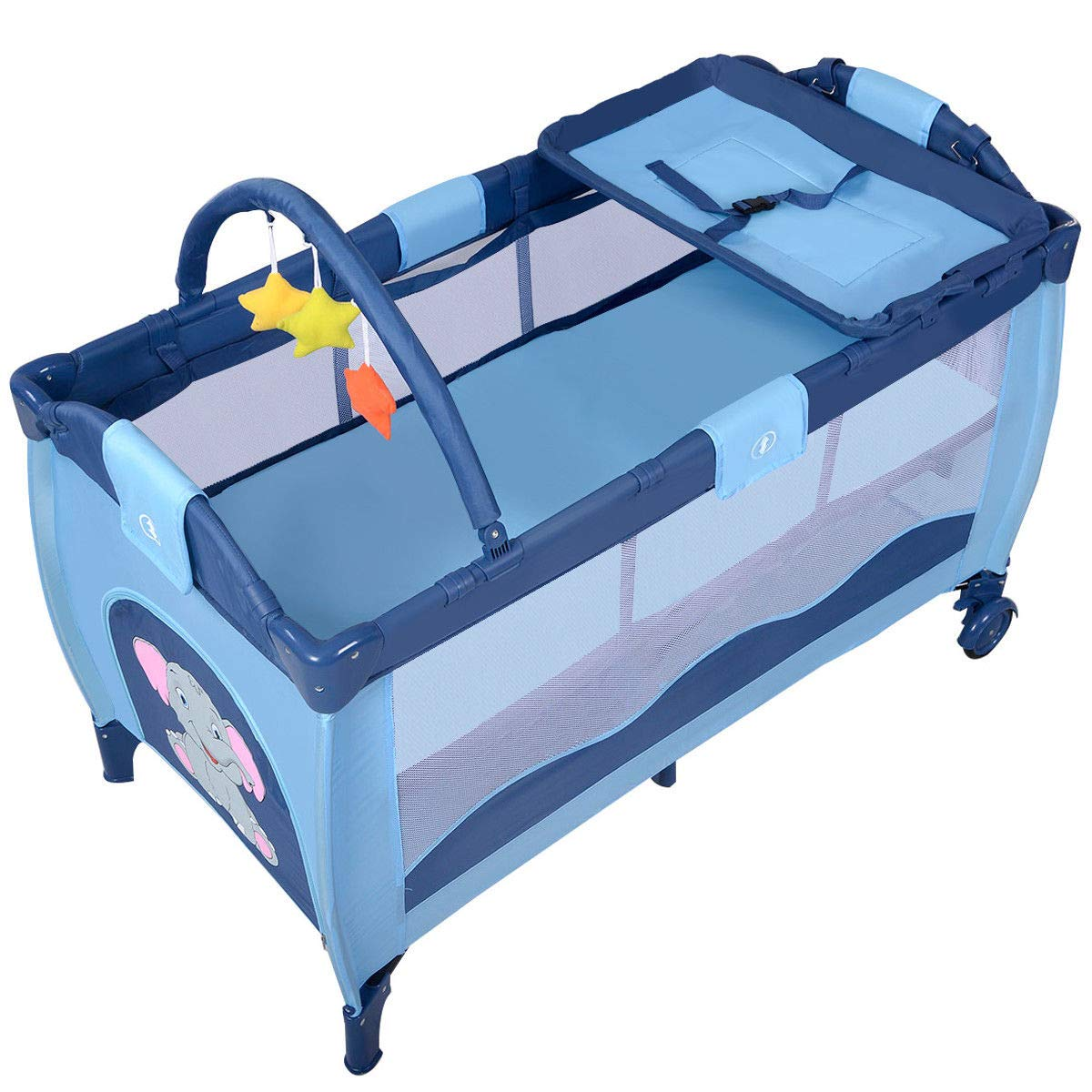 Toddler Baby Crib Playard Pack Playpen Bassinet Travel Infant Bed Portable Foldable by WealthyPlaza (Image #5)