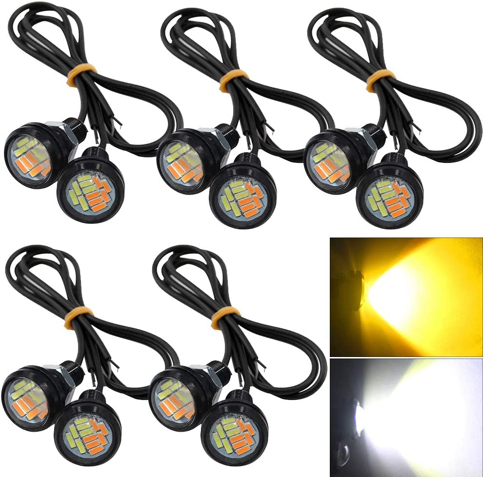 shunyang Eagle Eye LED 18MM Car Fog Lamp DRL Reverse Parking Turn Signal Waterproof Daytime Running Lights Red 10Pcs