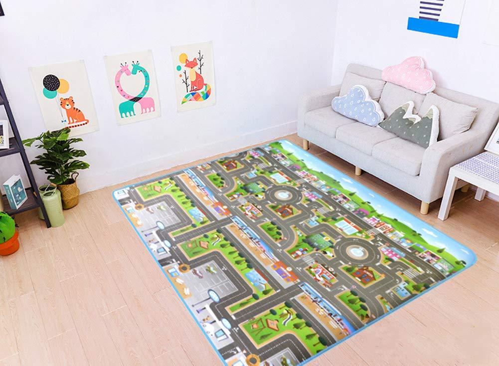 alfombra en relieve para que jueguen los ni/ños 200 x 180 cm imagen de ciudad y tr/áfico Alfombra infantil de 0,5 cm
