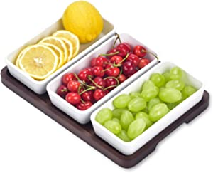Creamic Snack Serving Tray 3 Pieces Long Strip Ceramic Bowls and A Brown Trays, Movable Moisture-Proof Food Bowls, Can Dress up Snacks, Fruits, Condiments, Bread, Barbecue, appetizers