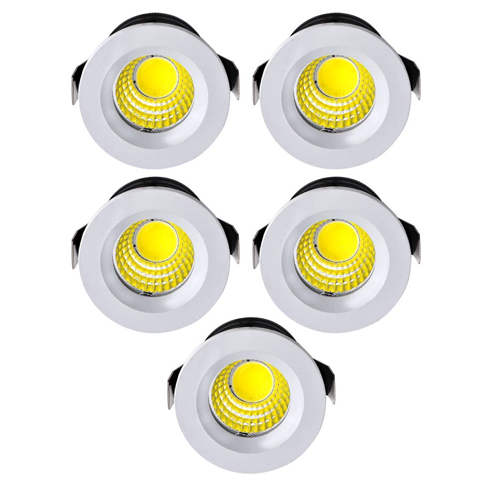 WZOED Kleine Einbaustrahler Mini LED Set 5er 3W LED Deckenstrahler Schwenkbar COB Deckenspots Einbauleuchte Aluminium Spots LED Set Kaltweiss f/ür Weinschrank//Schrank//K/üche//Wohnzimmer-Rosegold