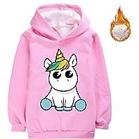 LIYIMING Sudadera con capucha para niña con estampado de unicornio, manga larga, con capucha