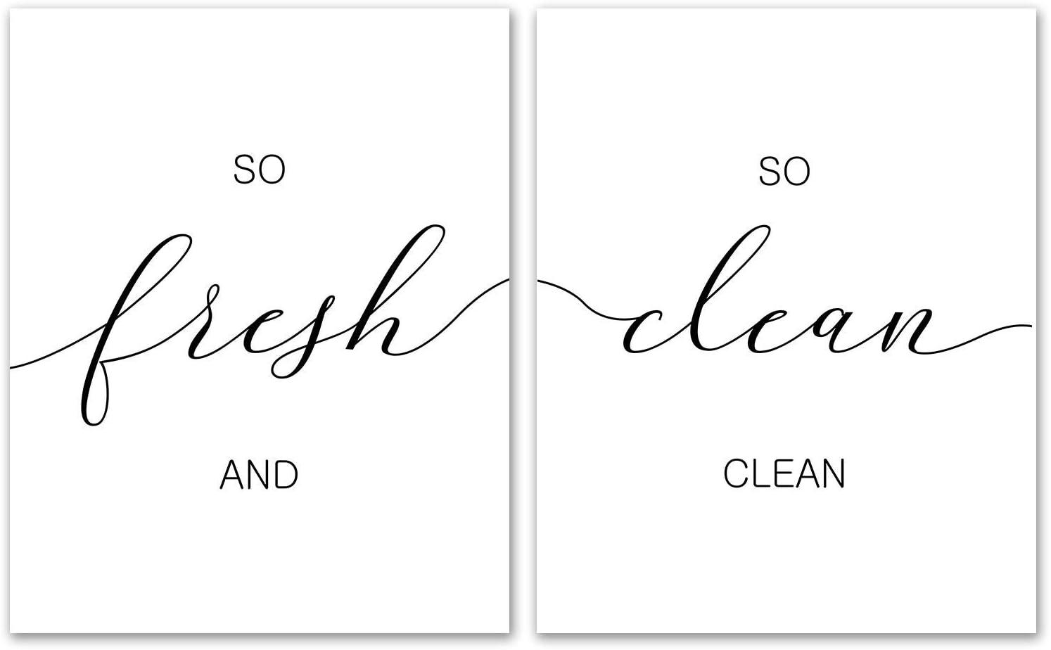 "Fresh and So Clean Clean Set of 2 Prints - Unframed, Bathroom Decor, Laundry Room Sign, Modern Farmhouse Sign, Shower Decor, Funny Saying, Bathroom Wall Art (So Fresh and So Clean Clean, 8"" x 10"")"